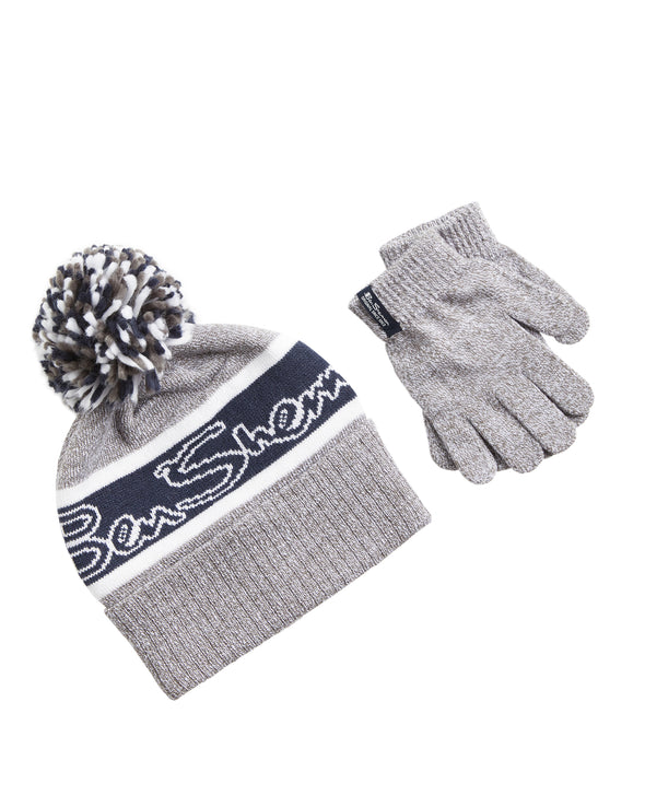 Kids' Jacquard Logo Knit Hat & Gloves Set - Grey with Blue Stripe