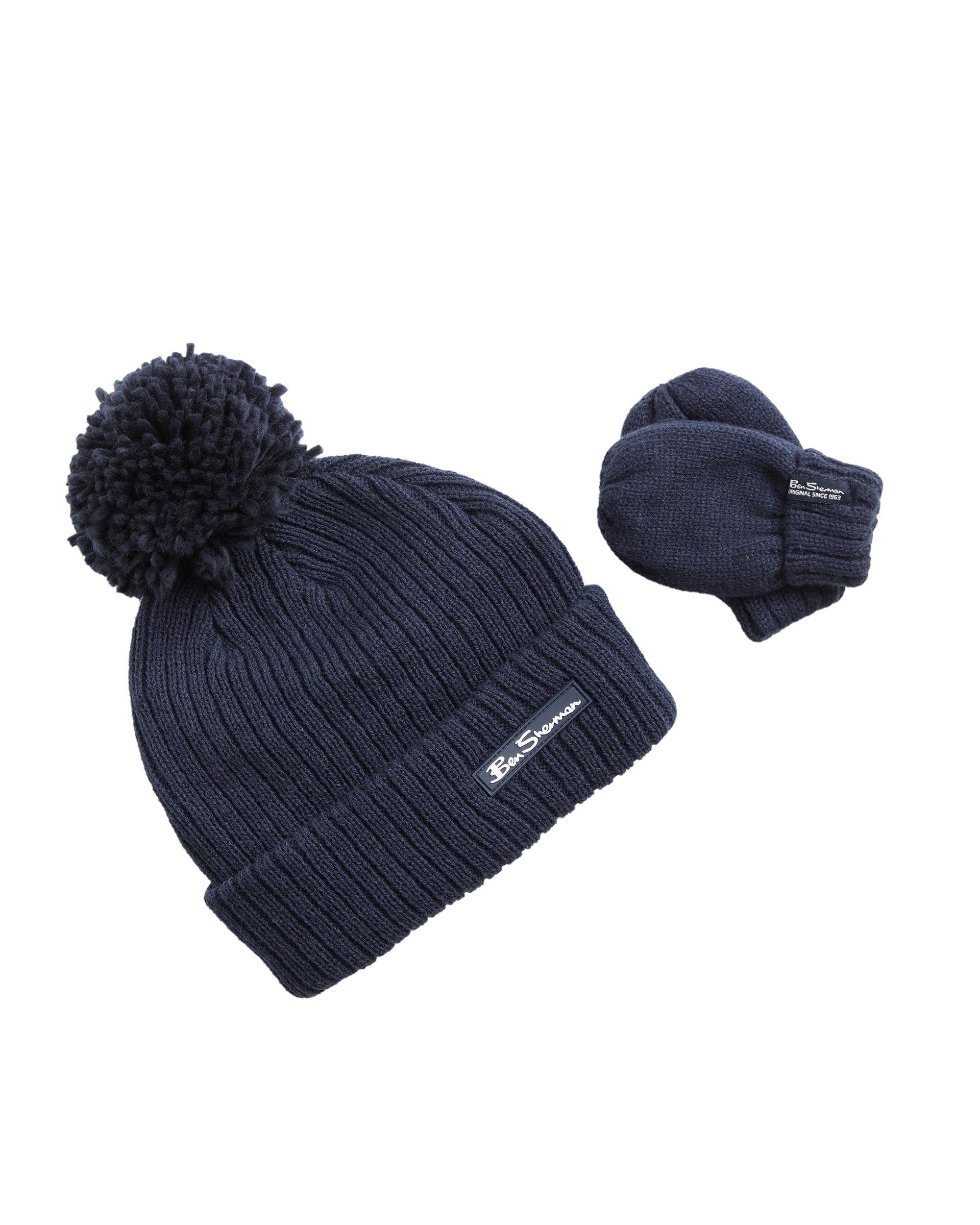 Toddler Knit Hat & Mittens Set - Navy