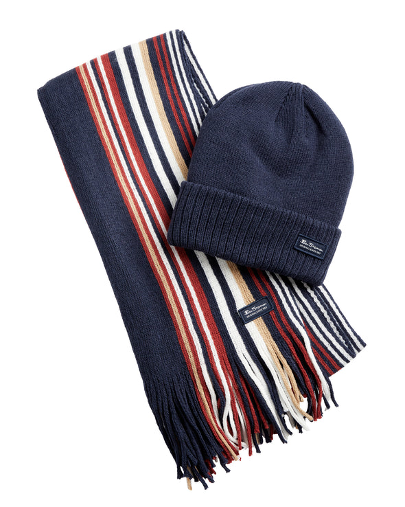 Men's Rochelle Knit Scarf & Hat Set - Navy Blazer/Cornstalk/Sun-Dried Tomato