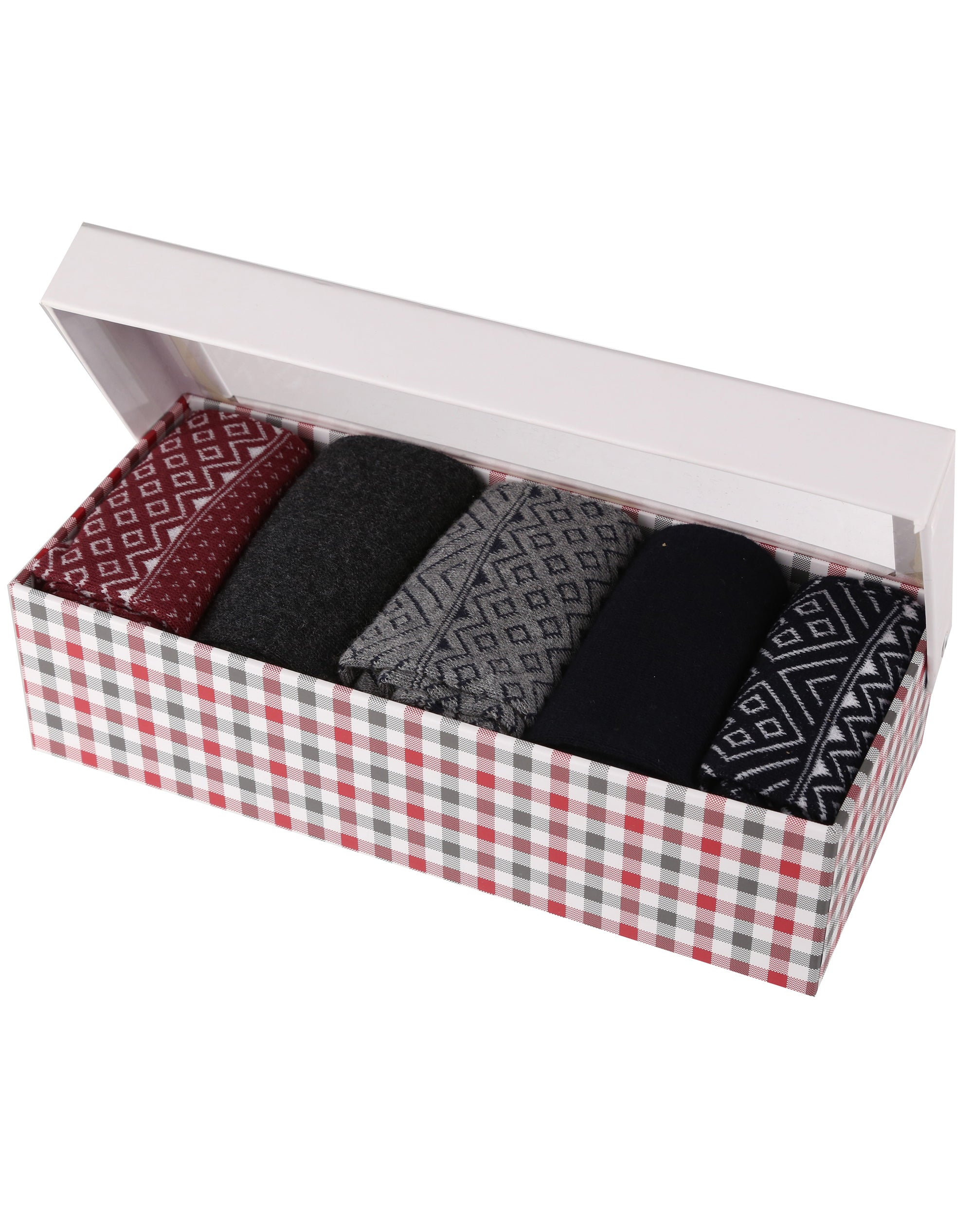 Gainsborough Men's Gift Socks 5-Pack - Grey Fairisle