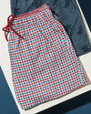Men's Palm Beach Gingham Check Swim Short - Blue/Red