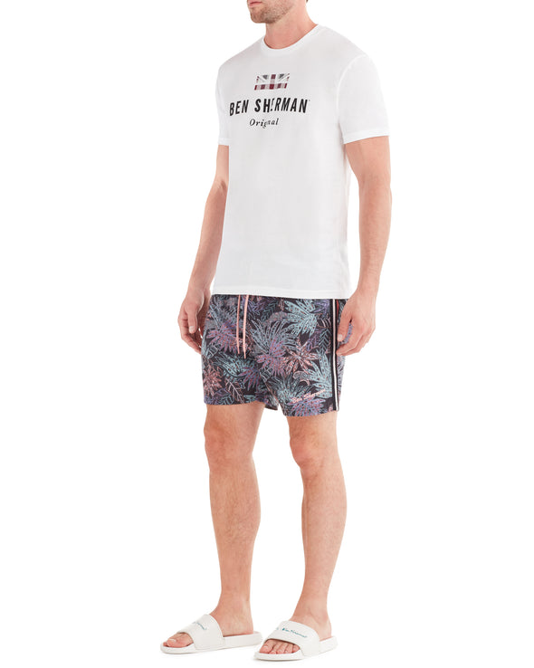 Men's La Concha Paisley Print Swim Short - Black/Blue/Soft Coral