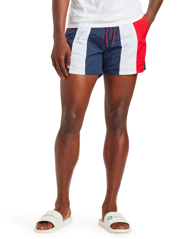 Men's Kaputas Block Stripe Swim Short - Navy/Red/White