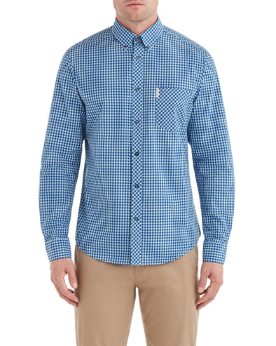 Long-Sleeve Gingham Shirt - Cobalt