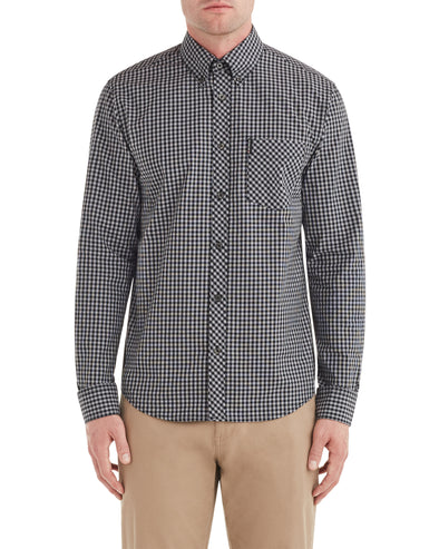 Long-Sleeve Gingham Shirt - Graphite Grey