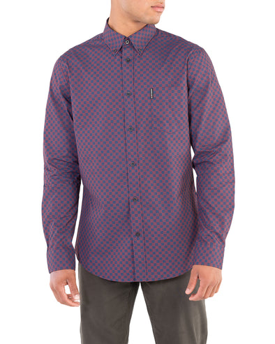 Long-Sleeve Printed Checkerboard Shirt - Burnt Orange