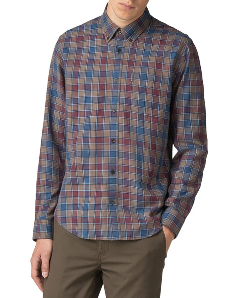 Long-Sleeve Heritage Check Shirt - Burnt Orange