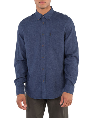 Long-Sleeve Twisted Brushed Shirt - Blue