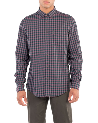 Long-Sleeve Grindle Gingham Shirt - Wine