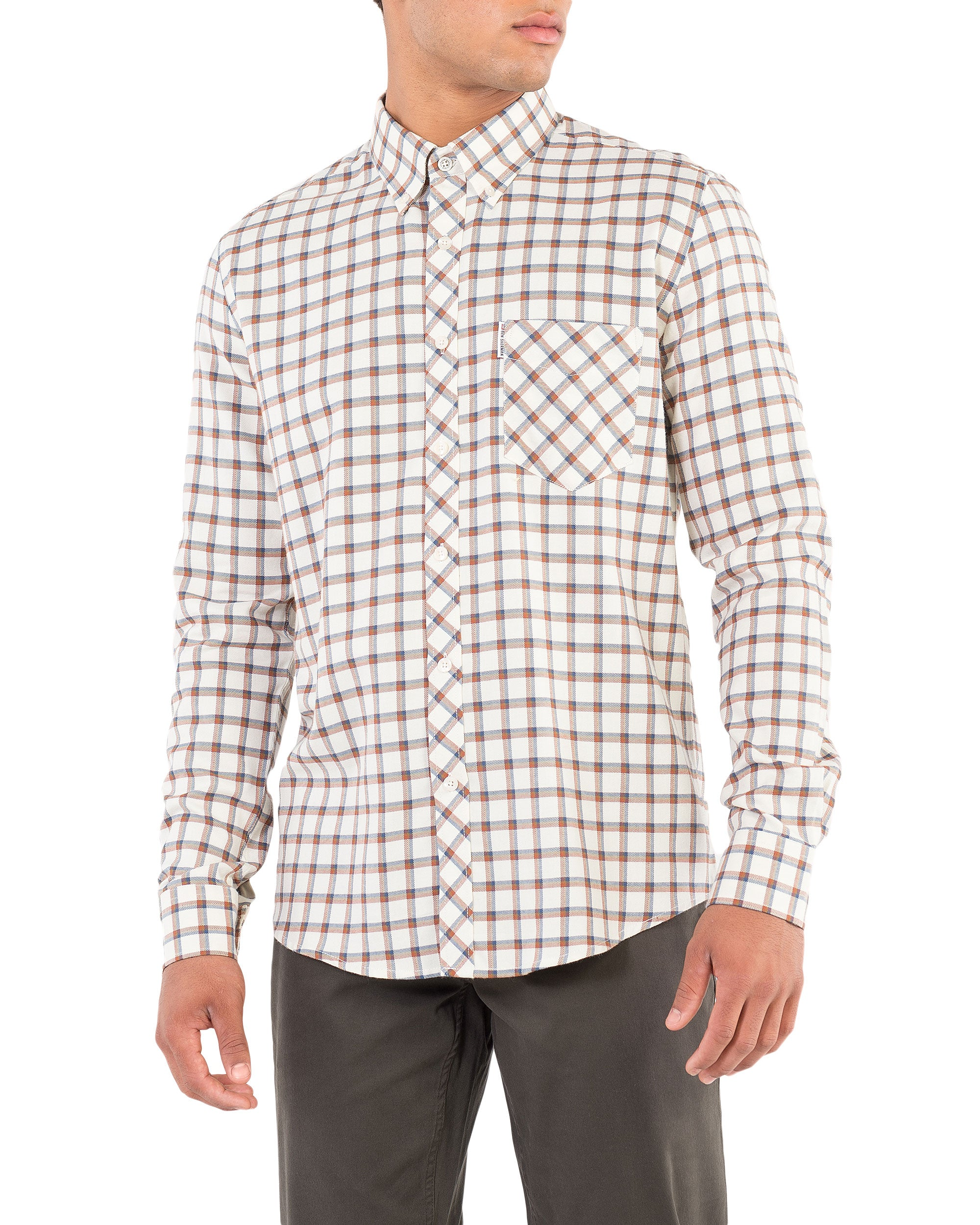 Long-Sleeve Reverse Twill Check Shirt - Beige