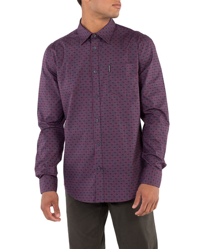 Long-Sleeve Geo Paisley Print Shirt - Wine