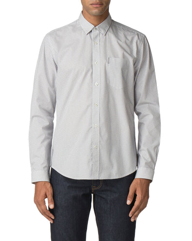 Long-Sleeve Retro Geo Print Shirt - Off White