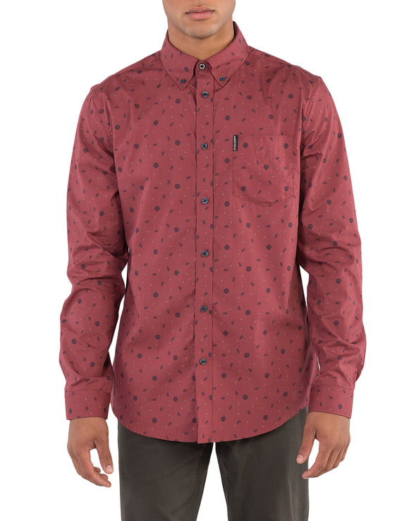 Long-Sleeve Scatter Rose Print Shirt - Burnt Orange