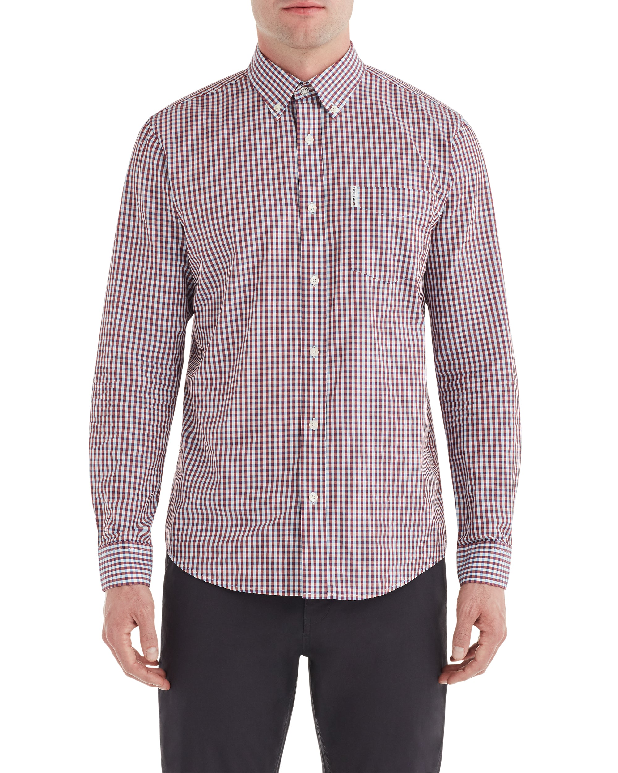 Long-Sleeve Classic Gingham Shirt - Sky