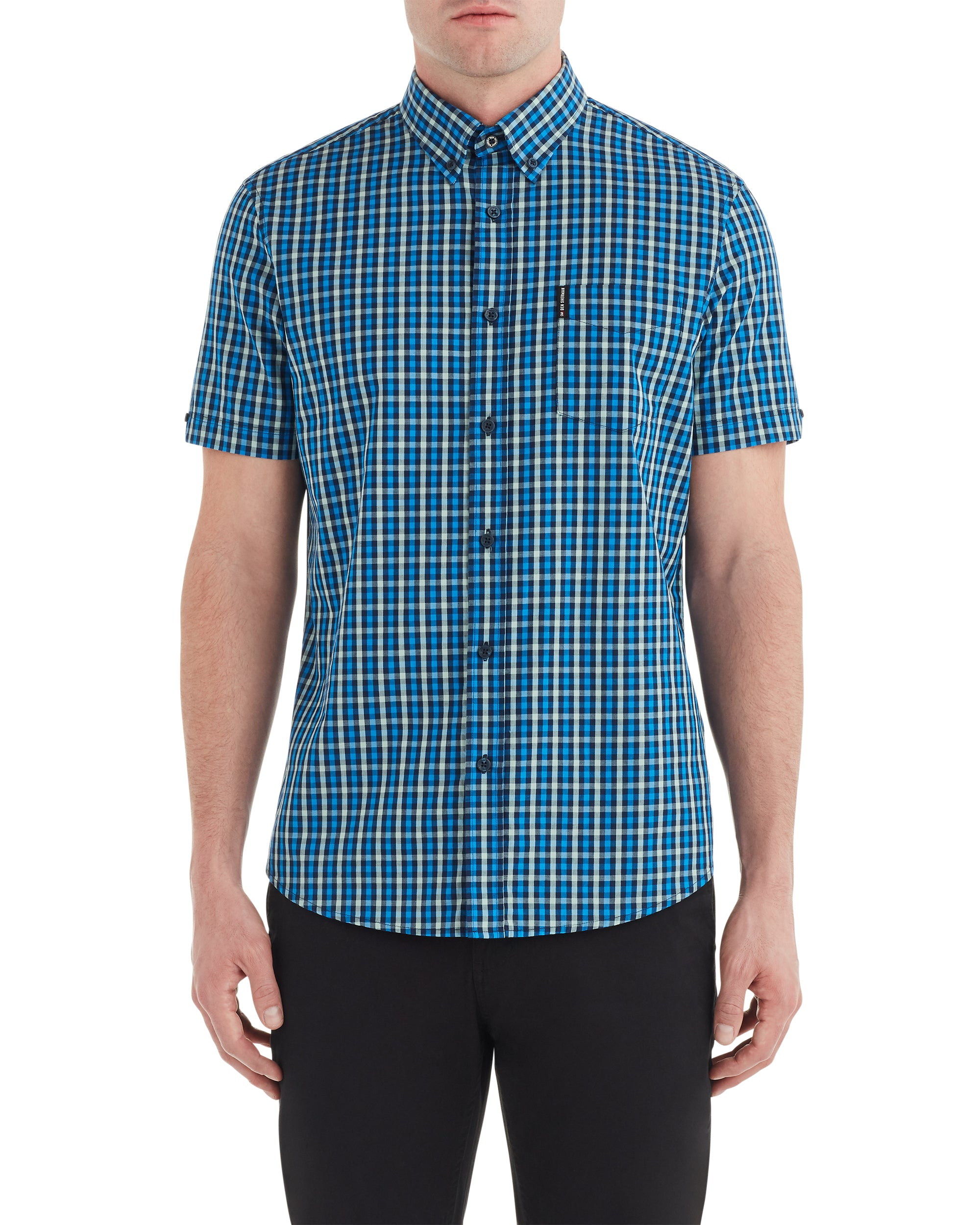 Short-Sleeve House Gingham Shirt - Marine