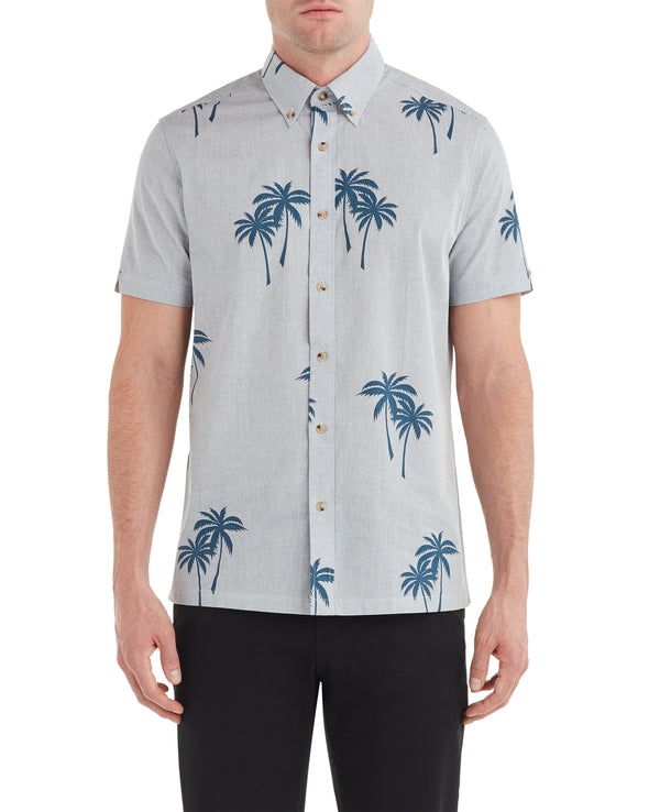 Short-Sleeve Palm Print Shirt - Dark Blue