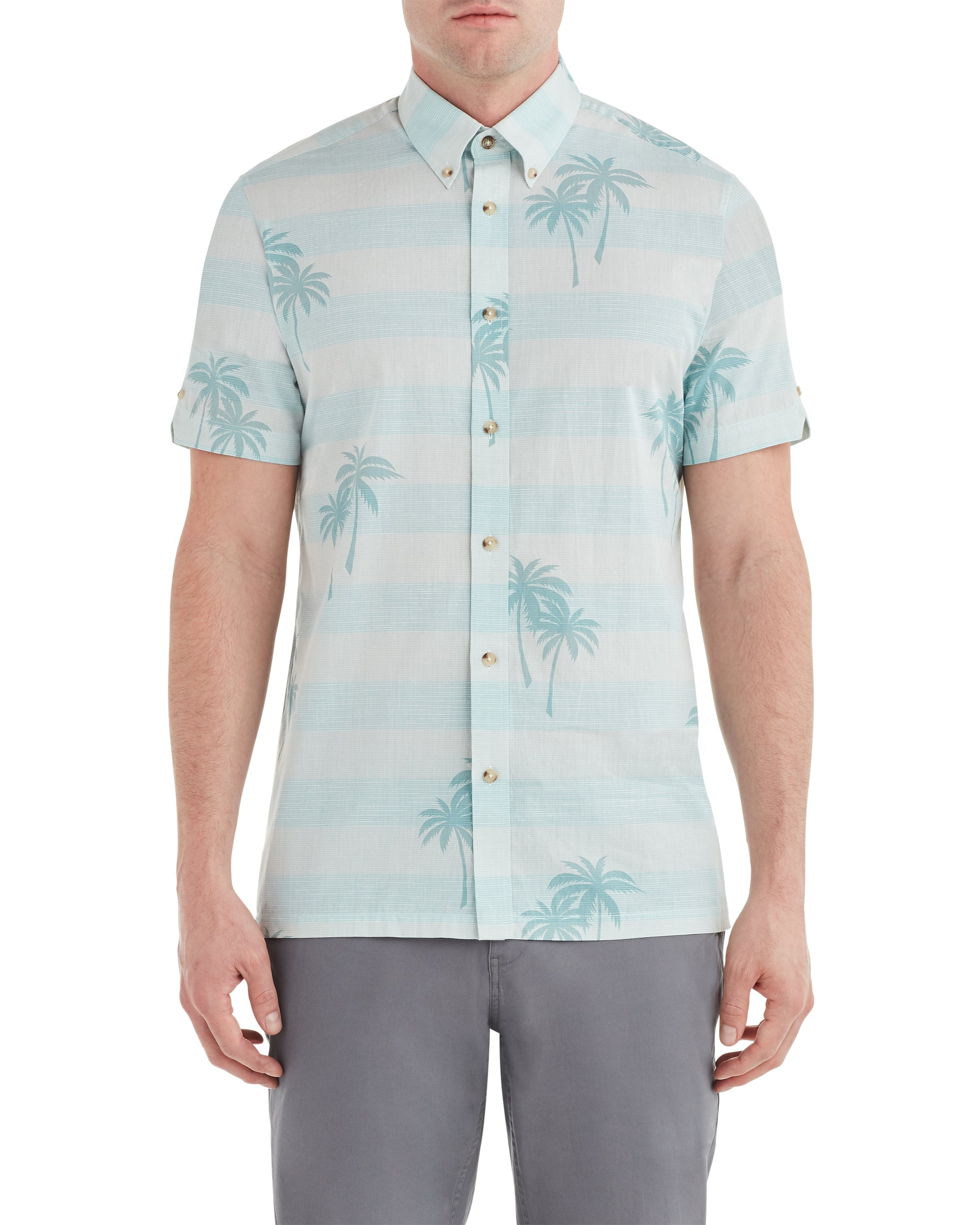 Short-Sleeve Palm Print Shirt - Sea