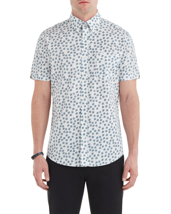 Short-Sleeve Scattered Scratch Printed Shirt - Snow White