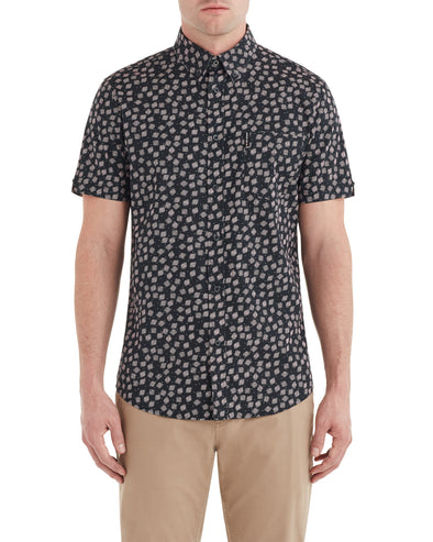 Short-Sleeve Scattered Scratch Printed Shirt - Black