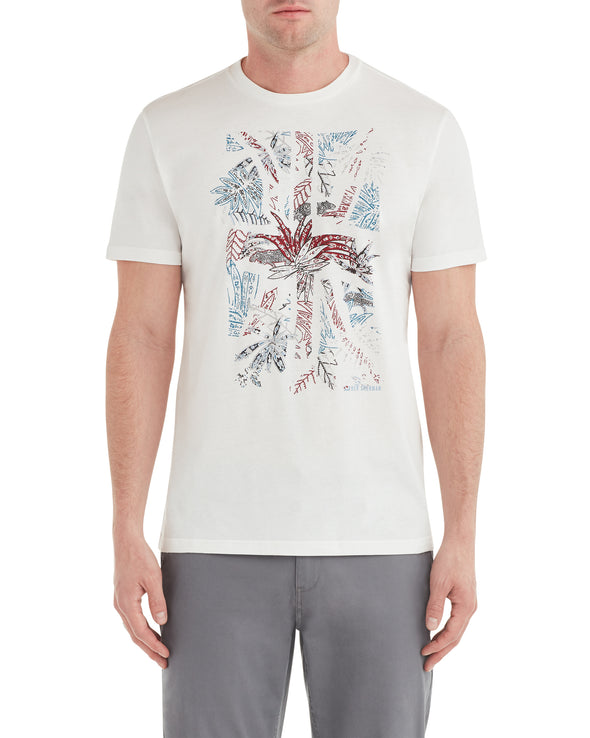 Tropical Union Jack Graphic Tee - White