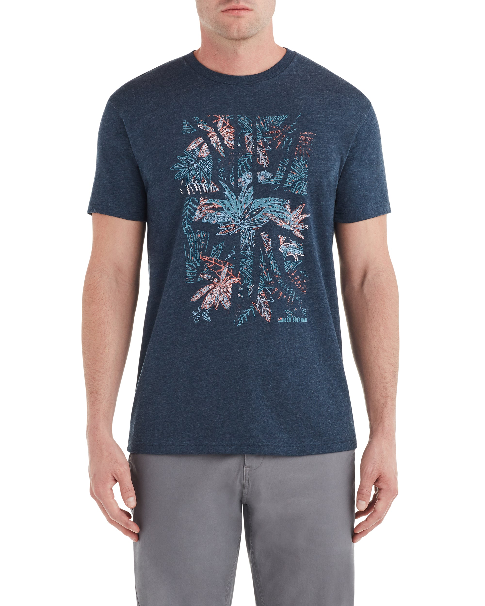 Tropical Union Jack Graphic Tee - Midnight Navy