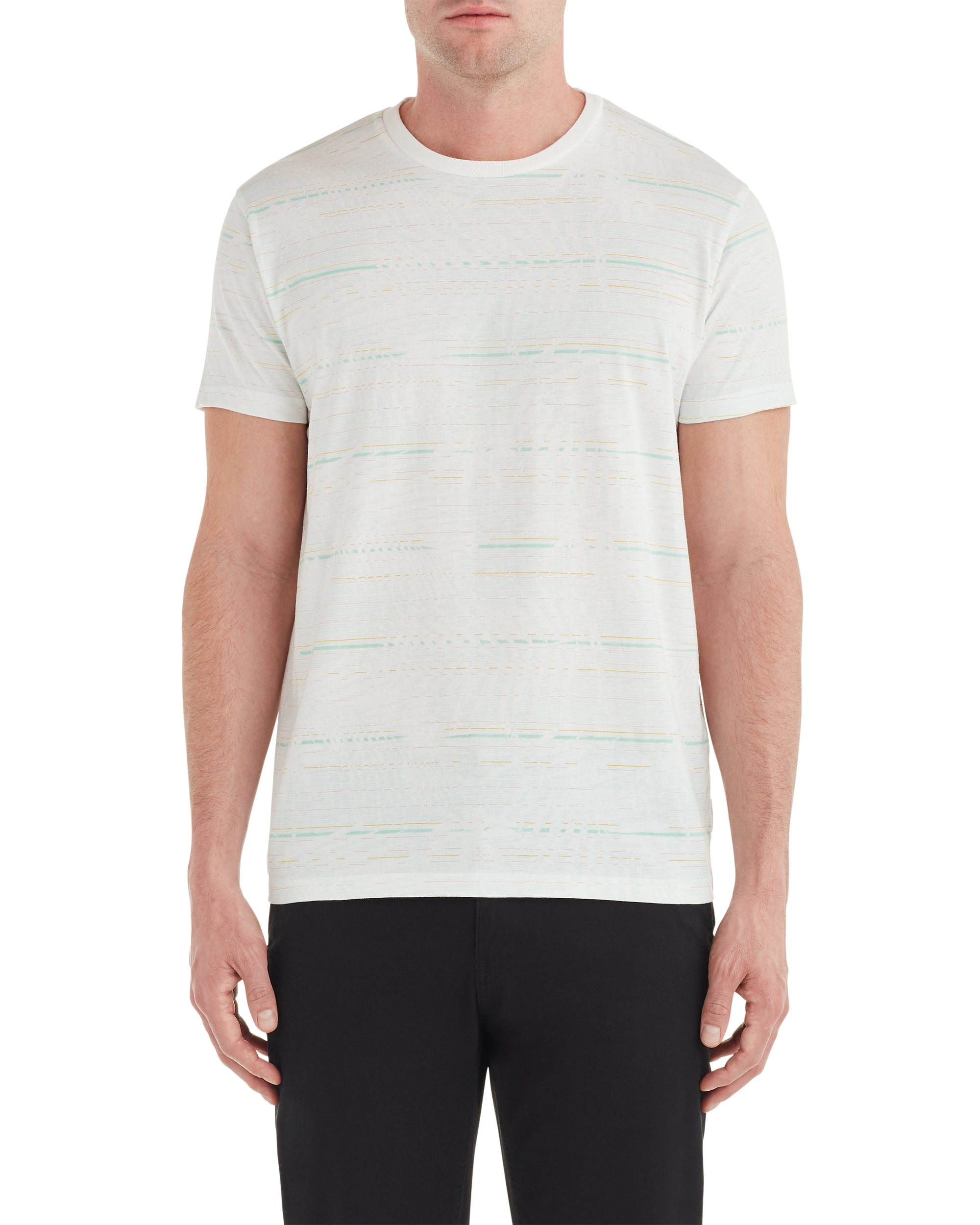 Palm Striped Styled Tee - White