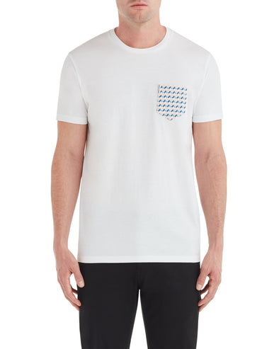 Geo Print Pocket Styled Tee - White