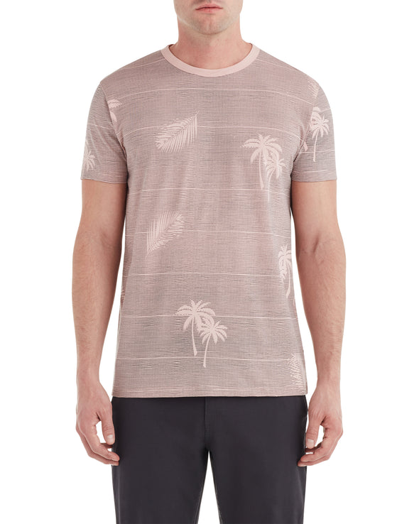 Palm Print Styled Tee - Light Pink