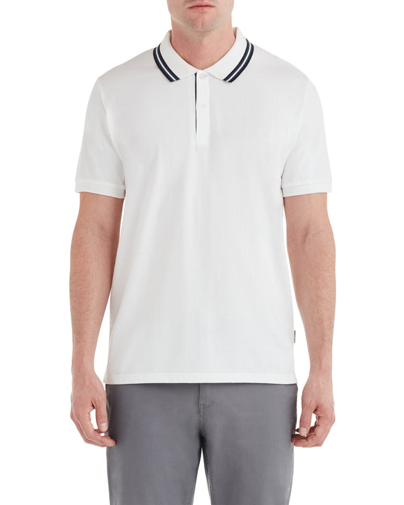 Micro Geo Jacquard Polo Shirt - Snow White