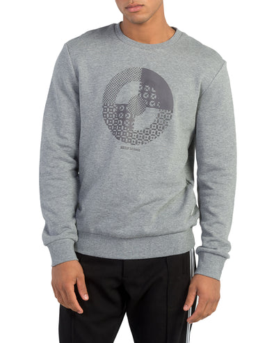 Raised Target Print Sweatshirt - Light Grey