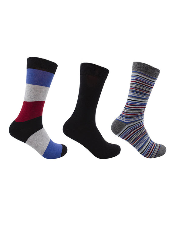 Men's 3-Pack Novelty Dress Socks - Grey Multi