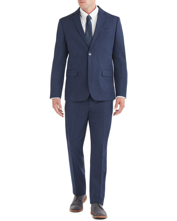 Bell Check Single-Breasted Suit - Blue