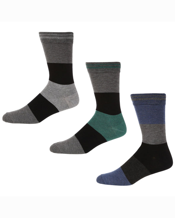 Blakeney Men's 3-Pack Socks - Grey/Blue/Green Stripe