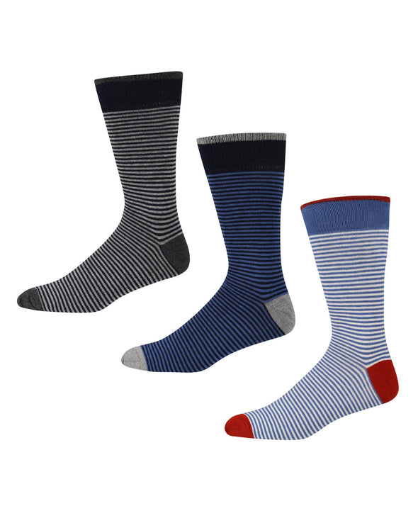 Braque Men's 3-Pack Socks - Charcoal Grey Marl/Blue White/Blue Black