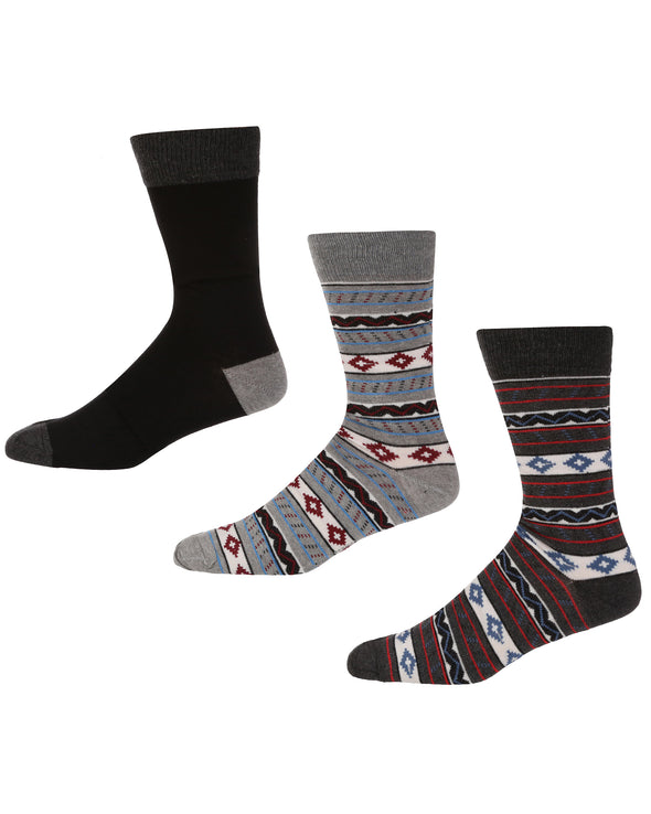 High Chaparral Men's 3-Pack Socks - Black/Grey Fairisle