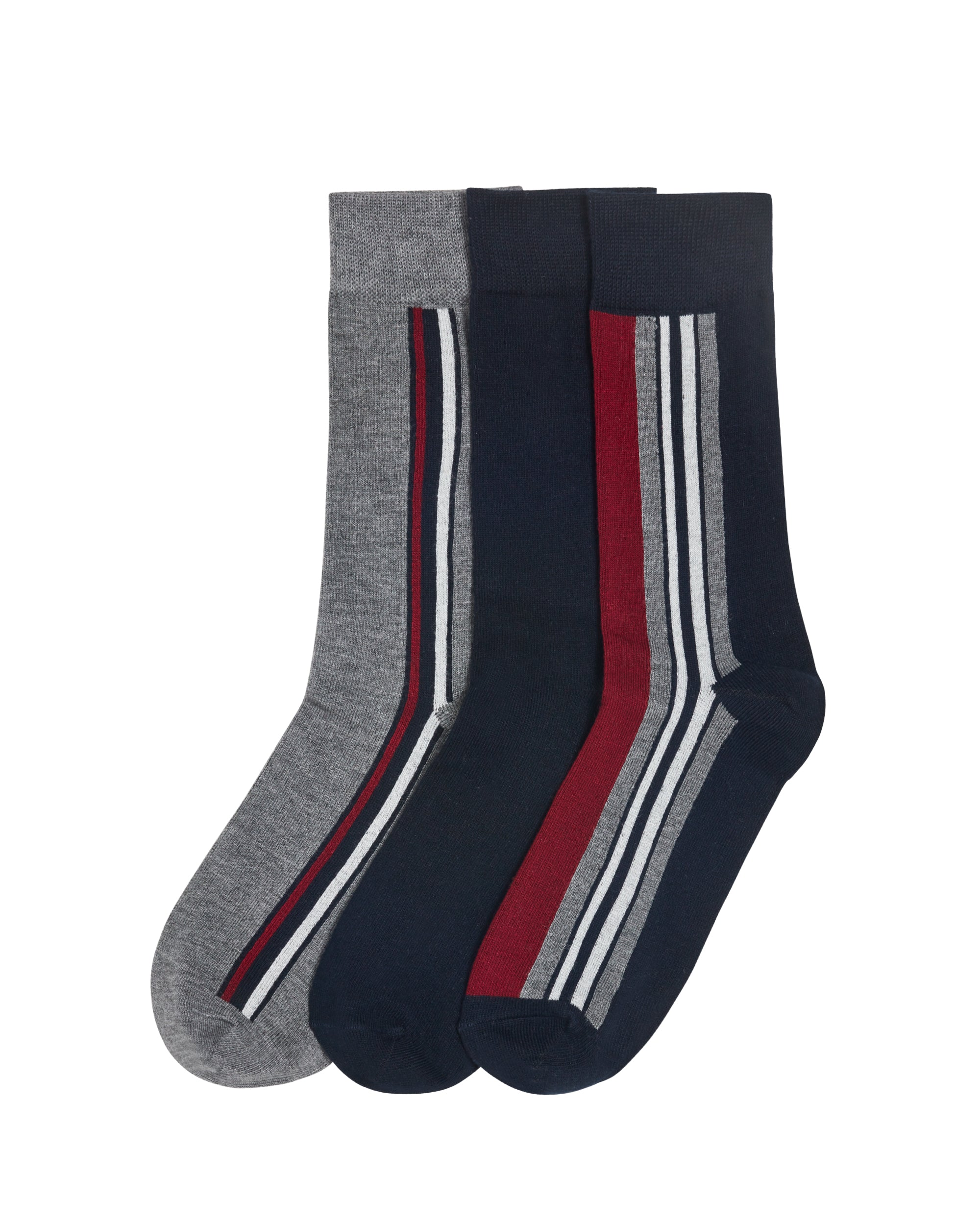 Grundy Men's 3-Pack Socks - Grey/Navy/Red Stripe