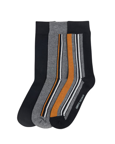 Grundy Men's 3-Pack Socks - Grey/Black/Gold Stripe