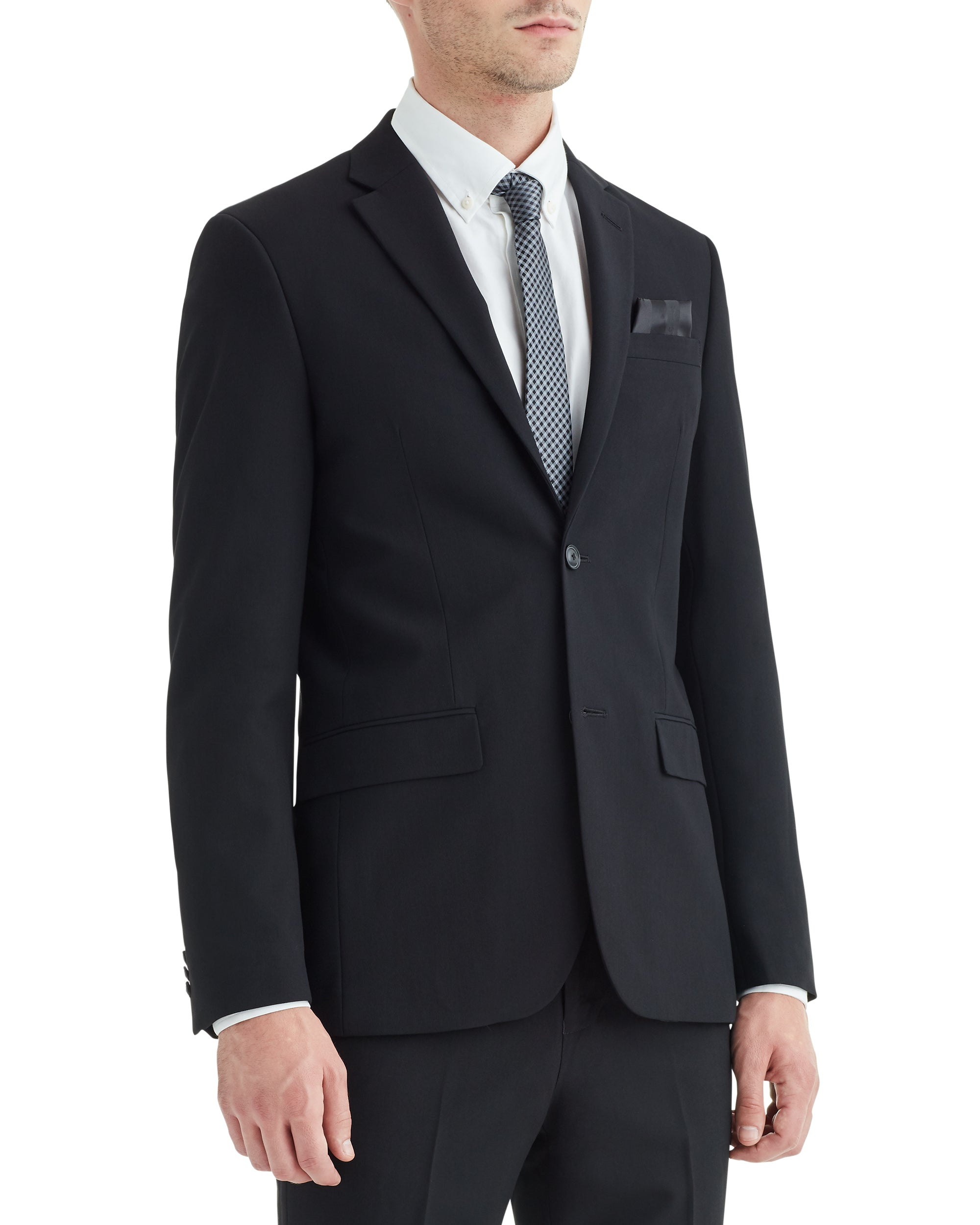 Burge Bi-Stretch Two-Button Notch Lapel Jacket - Black