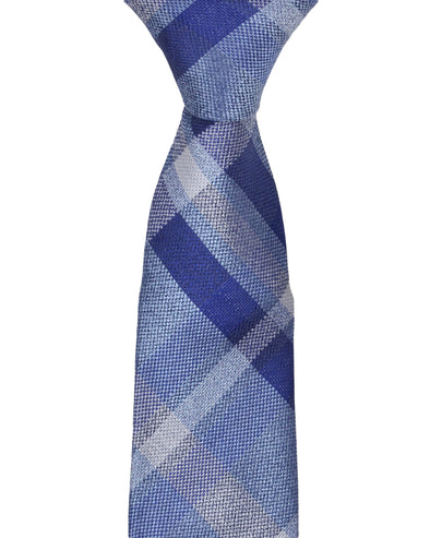Kirkwood Plaid Silk Neck Tie - Navy