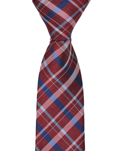 Kensleigh Plaid Silk Neck Tie - Red