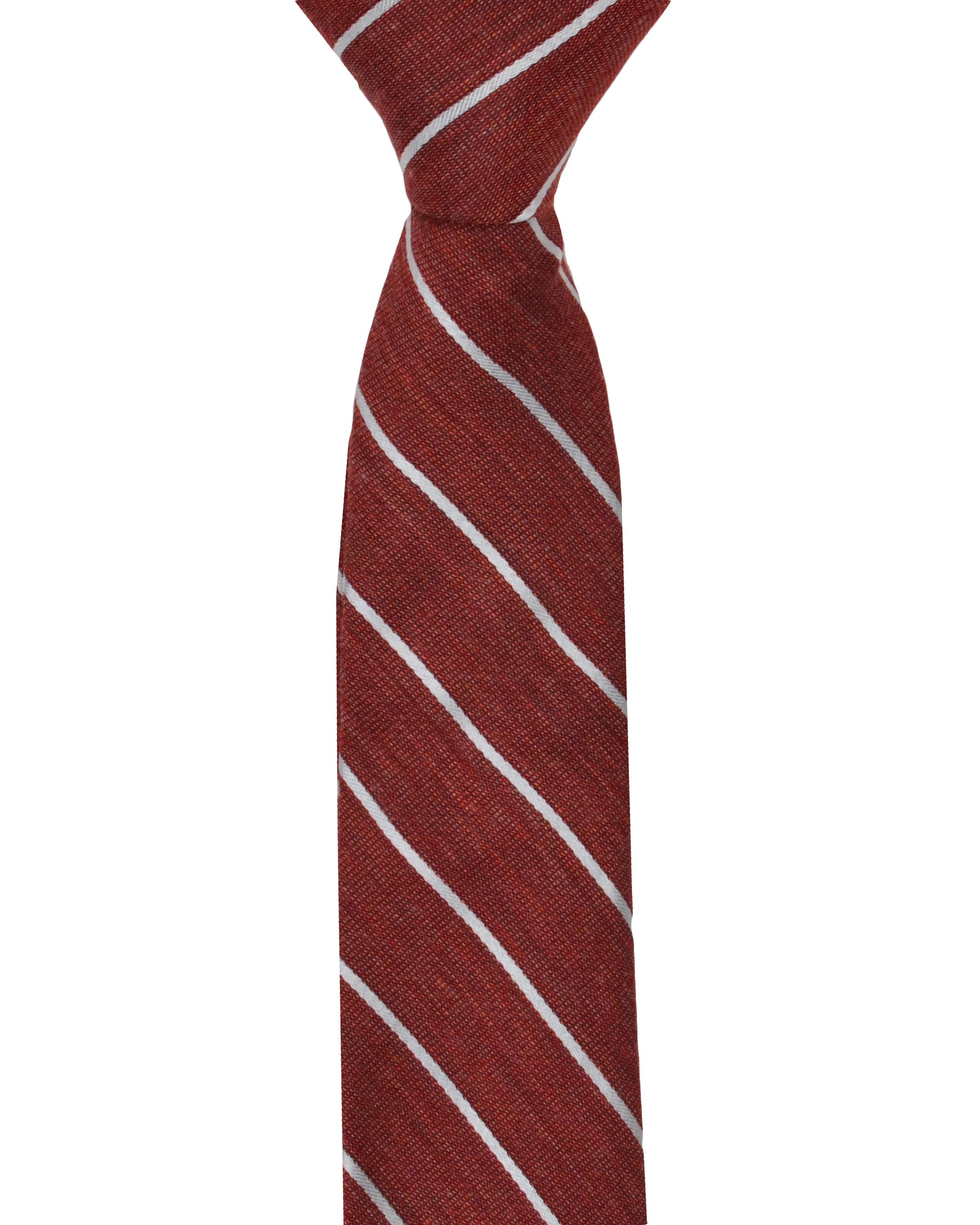 Kalvin Stripe Silk Neck Tie - Red