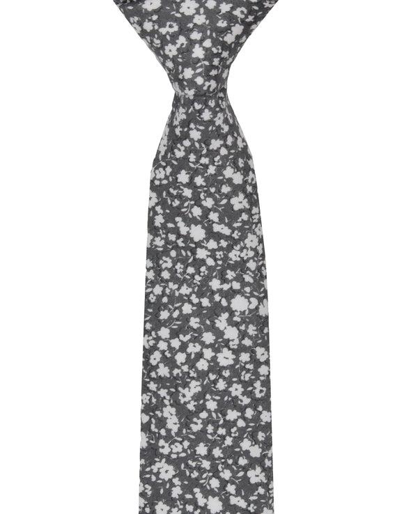 Kenneth Floral Printed Silk Neck Tie - Silver