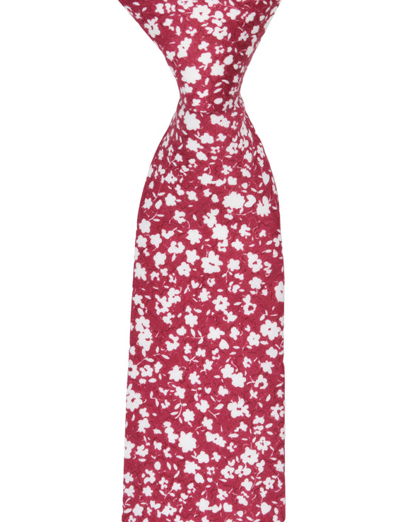 Kenneth Floral Printed Silk Neck Tie - Red
