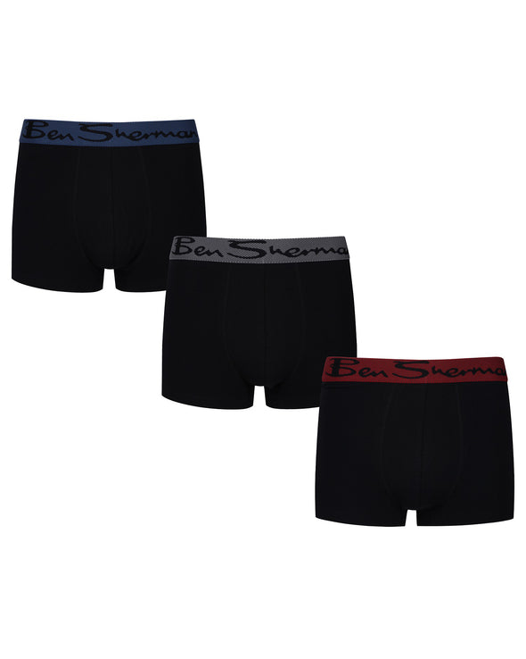 Cale Men's 3-Pack Fitted Boxer-Briefs - Black with Red, Blue, Grey
