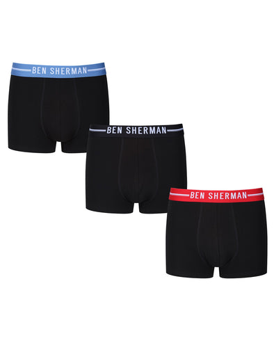 Brant Men's 3-Pack Fitted No-Fly Boxer-Briefs - Black with Red, Black and Delft