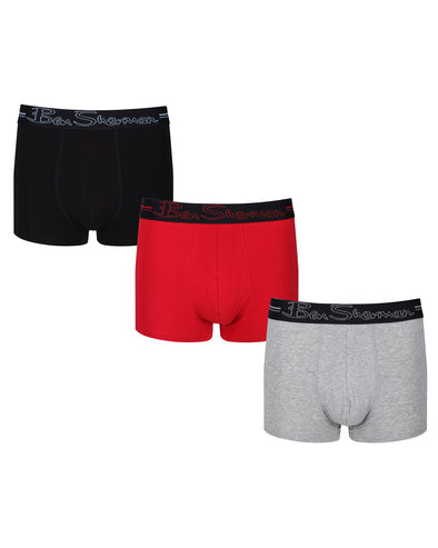 Clay Men's 3-Pack Fitted No-Fly Boxer-Briefs - Black/Grey Marl/Red