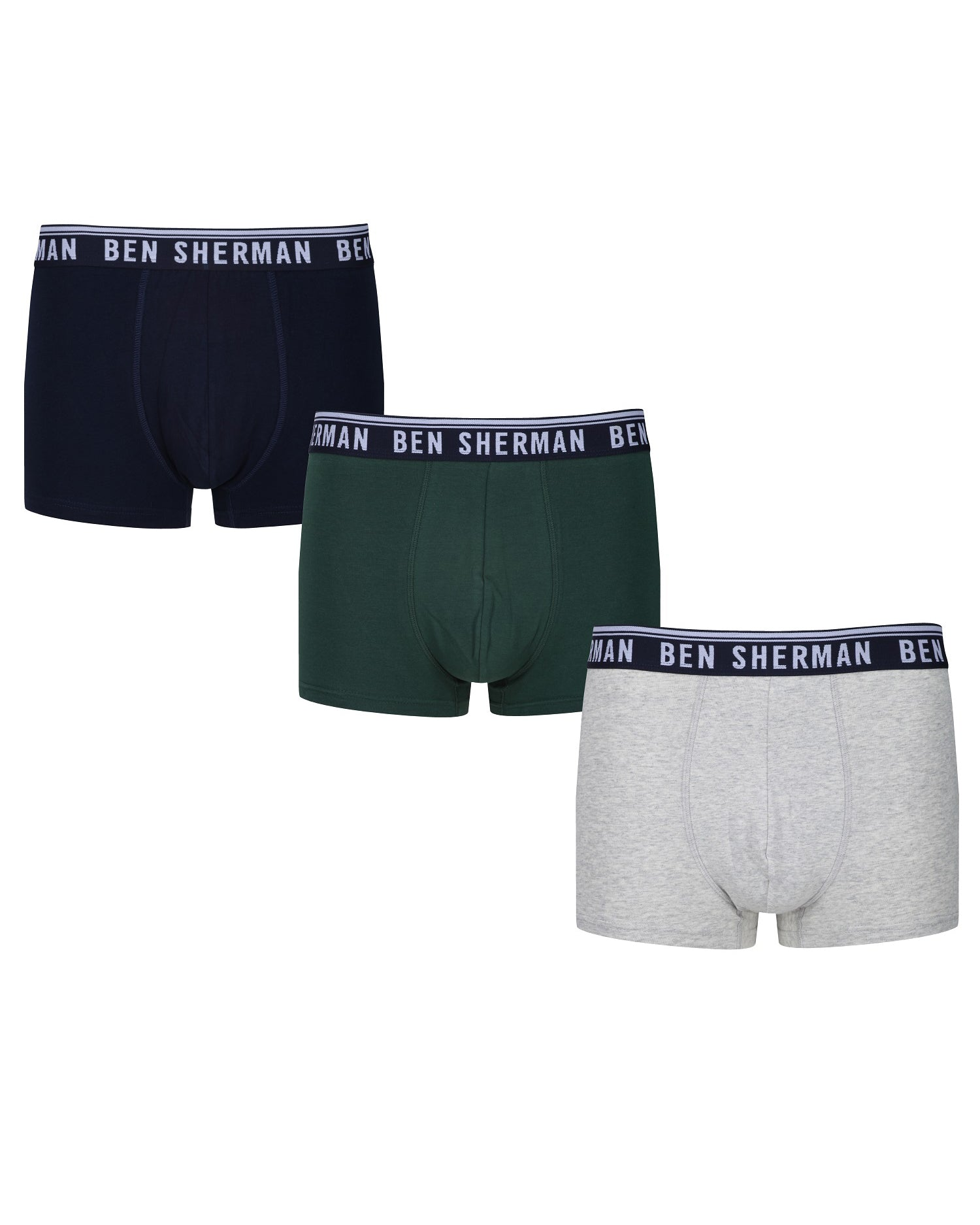 Cullen Men's 3-Pack Fitted Boxer-Briefs - Navy/Grey Marl/Green