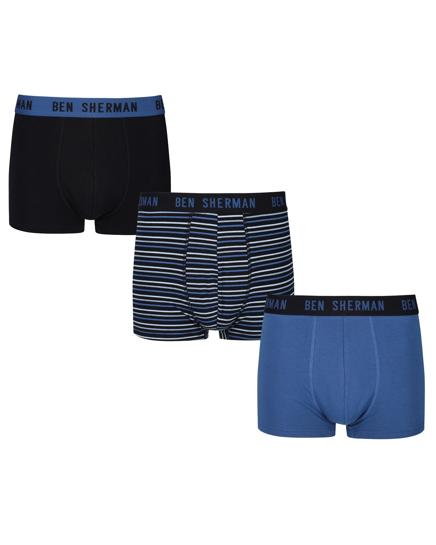 Chester Men's 3-Pack Fitted No-Fly Boxer-Briefs - Black/Blue Black Stripe/Delft