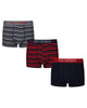 Glen Men's 3-Pack Fitted No-Fly Boxer-Briefs - Red/Navy/Grey Marl Stripe