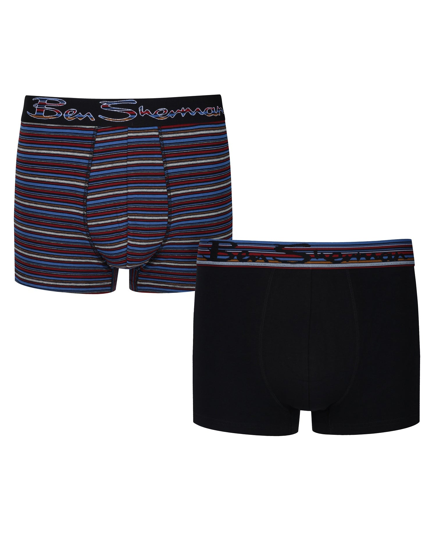 Gib Men's 2-Pack Fitted No-Fly Boxer-Briefs - Black/Multi Stripe